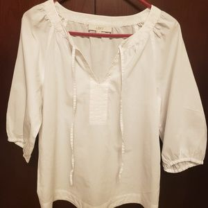 Loft by Ann Taylor White Peasant Style Blouse